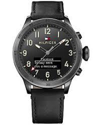 black watches for men shop black watches for men macy s tommy hilfiger men s analog digital black leather strap smart watch 46mm 1791301