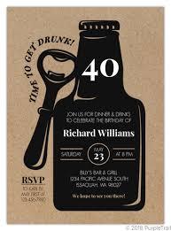 40th Birthday Invitations Rustic Black Bottle 40th Birthday Invitation