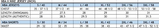 Adidas Swingman Jersey Size Chart