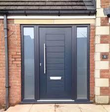 modern front door and entrance door in black opaque gl sidelight panels on each side of the door