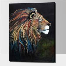 lion painting acrylic. Brilliant Lion Hand Painted Acrylic Painting On Canvas Colorful Lion Oil Paintings  Modern Abstract Animal Wall Art Kidu0027s Room Decorationin U0026 Calligraphy  With N