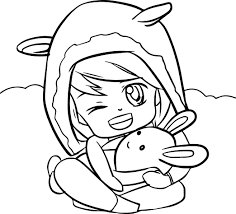 Cartoon Cute Girl Pillow Coloring Page Wecoloringpagecom