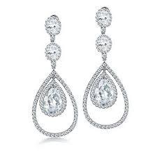 bling jewelry fancy cz triple teardrop chandelier earrings