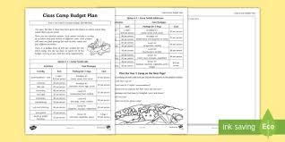 budget plan sheet class camp budget plan activity sheet money dollars adding money