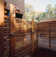 Outdoor Shower Heads Patio Contemporary with Chrome Clear Cedar Flat