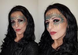 colorful glitter carnival festival masquerade mask makeup bottle green black smokey eyes magdalena mazur make up