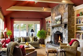 incredible family room decorating ideas. Incredible Ideas Living Room With Stone Fireplace Decorating Decor Red Family S