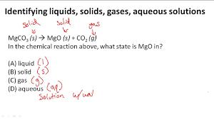 Aqueous Solubility Chart Identifying Liquids Solids Gases Aqueous Solutions