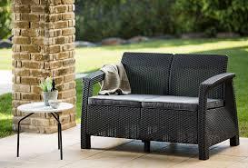outdoor furniture. Perfect Furniture Amazoncom  Keter Corfu Love Seat All Weather Outdoor Patio Garden  Furniture W Cushions Charcoal Loveseats U0026 In L