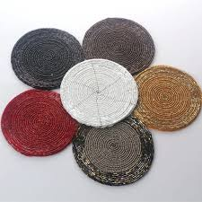 high quality handmade beaded round white red black gold table mats and coasters placemats mat beaded table mats