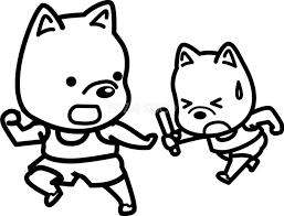 バトン練習 かわいい白黒の犬イラスト無料82843 素材good