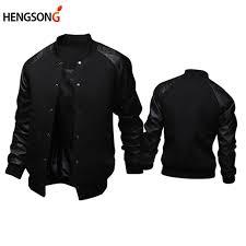 spring winter men baseball jacket 2018 fashion new design stand neck pu leather sleeve mens slim