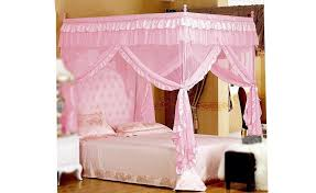 Astonishing Design Of The Princess Canopy Bed With Pink Silk Curtain Added  With Pink Bed And