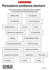 esl persuasive speech topics writing time public  this is a sheet that contains persuasive sentence starters cut the sentence starters our and give to children to use while writing their persuasive
