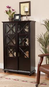 kings brand espresso finish wood curio cabinet bookcase with sliding doors