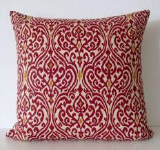 Etsy Throw Pillows Crimson Red Damask Pillow Cover Waverly Srilanka Ikat Harvest