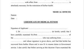 Medical Certificate Fit To Work Template Sample Medical