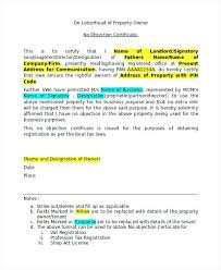 Noc Letter Format From College For Internship Copy No Objection