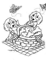 Small Picture Two Cute Dog and Butterflies with a Basket of Bone Biscuits