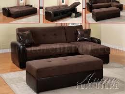 chocolate microfiber modern reversible sectional sofa w ottoman