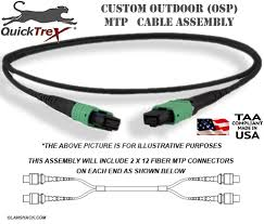Osp Fiber Custom Pre Terminated Corning Altos Outdoor Osp Mtp Singlemode 24 Fiber 2 X 12 Apc Trunk Cable Assembly Made In Usa By Quicktrex