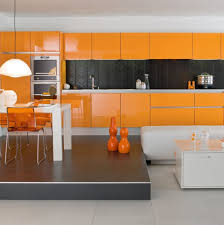 Simple Design Modern High Glossy Lacquer Finish Orange Kitchen