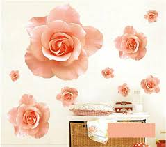 romantic wedding room decoration diy wall stickers combination of pink roses wall decals home decor art