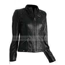women s black leather jacket with studs on shoulders zoom women s