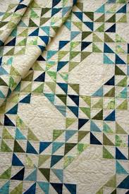 Ocean Waves | green and blue quilt. half square triangles. quilted ... & Ocean Waves | green and blue quilt. half square triangles. quilted feathers Adamdwight.com