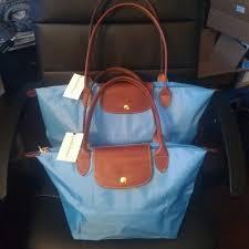 Nwt Large Longchamp Le Pliage Tote Bag Azure Blue Nwt
