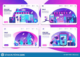 Buy Templates Online Shopping Online Shopping Sale Landing Page Vector