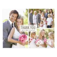 custom wedding thank you postcards zazzle co uk Wedding Thank You Bunting Uk three photo collage wedding thank you postcard Succulent Thank You Bunting