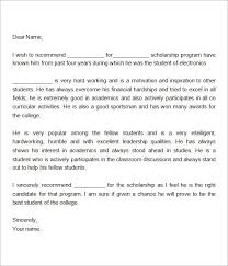 Scholarship Recommendation Letter Sample Sample Letter Of Recommendation For Scholarship 29