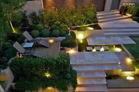outdoor lighting backyard. Backyard At Night Lit Up With In-gounrd LED Lights, Path Lights And Wall Outdoor Lighting