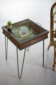 Vintage Display Showcase End Table with Glass Top over Shadow Box  Compartment