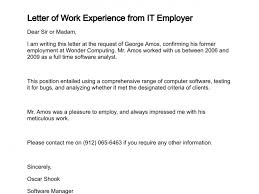 sample letter employee letter of work experience