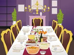 dinner table clipart. Perfect Clipart Illustration Of A Formal Dining Table Filled With Food To Dinner Clipart D