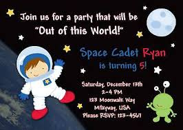 Space Party Invitation Astronaut Outer Space Birthday Invitation Photo Ebay