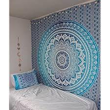 popular handicrafts kp652 blue ombre hippie mandala bohemian psychedelic tapestry wall hangings wall art ethnic dorm decor indian bedspread magical thinking  on wall art tapestry hangings with amazon new launched popular handicrafts tapestry wall