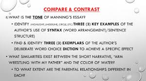 the color of water by james mcbride notes guided reading  compare contrast what is the tone of manning s essay