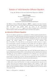 pdf one dimensional linear advection diffusion equation ytical and finite element solutions
