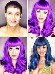a guy transforms his face to look like female celebrities 3