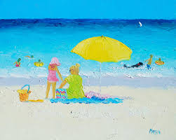 myrtle beach painting beach painting yellow umbrella by jan matson