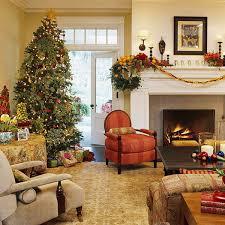 Xmas Living Room Decor Christmas Living Room Decor Yellow Curtain Wood Frame Fireplace