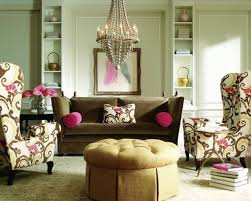 charming eclectic living room ideas. Casual Brown Velvet Sofa And Cream Fabric Tufted Ottoman Also Crystal Hanging Chandeliers For Your Eclectic Charming Living Room Ideas L