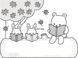 無料イラスト 森の動物の読書の文字枠秋