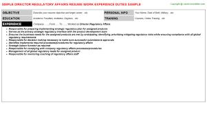 Director Regulatory Affairs Resume Sample