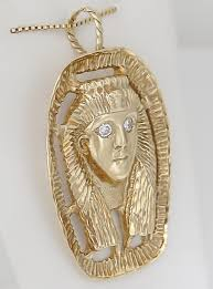 mens 14k yellow gold egyptian round natural 12ct diamond pendant 19 8g 2 10