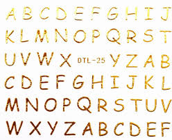 Mix Order: $0.7 DTL 25 Gold 3D Letters Designs Nail Art Water ...