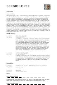 Personal Banker Resume Samples summary